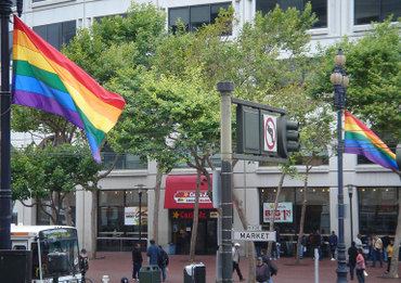 Rainbow flags on San Francisco's Market Street