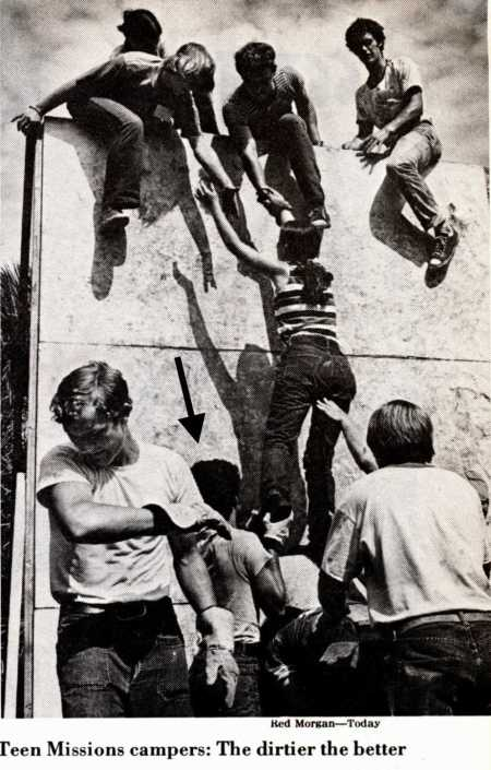"This picture from the August 4, 1978 Newsweek shows me boosting a fellow religious zealot over a wall during ""boot camp""."